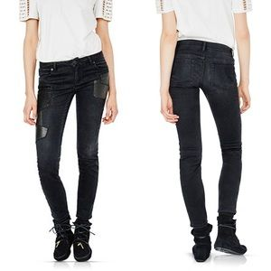 Maje Patchy Leather Patch Skinny Jeans NWT